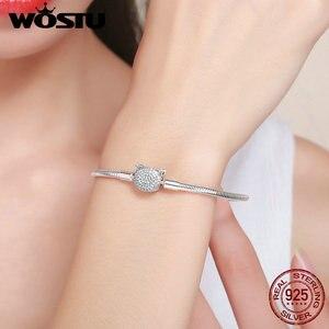Image 3 - WOSTU Authentieke 100% 925 Sterling Zilver Leuke Kat Glittering CZ Snake Strand Ketting Armbanden Armband voor Vrouwen Zilveren Sieraden
