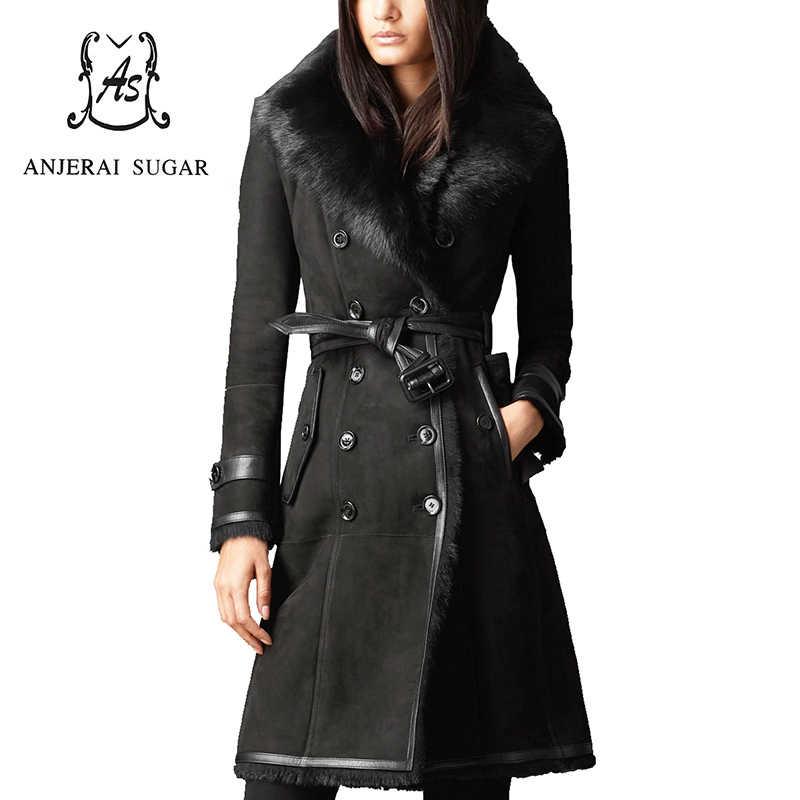 84e37c99861 Women genuine wool Fur coat black real Sheep leather long slim belt winter jacket  big fox