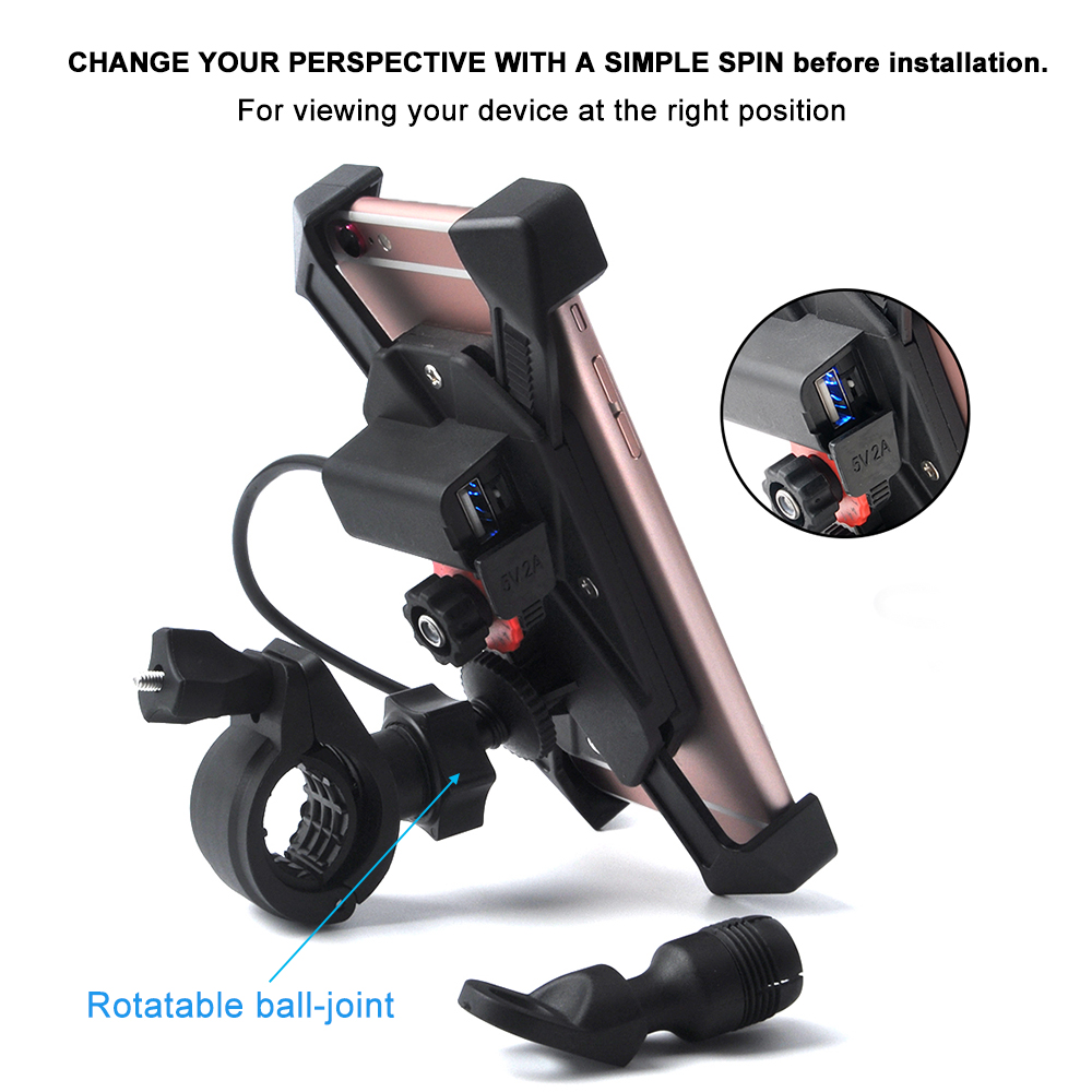 5V/2A Universal Bike Bicycle Motorcycle USB Charger phone Mount Bracket GPS for 3.5-7 inch Mobile Phone holder Telephone Stand universal u style motorcycle bicycle mount base for phone gps interphone black