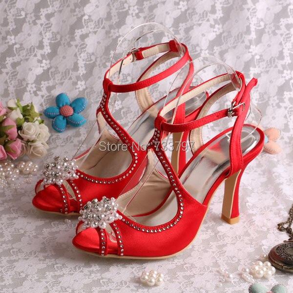 (20 COLORS)Custom Handmade Red Heels Bridal Crystal Wedding Sandals Roman Style