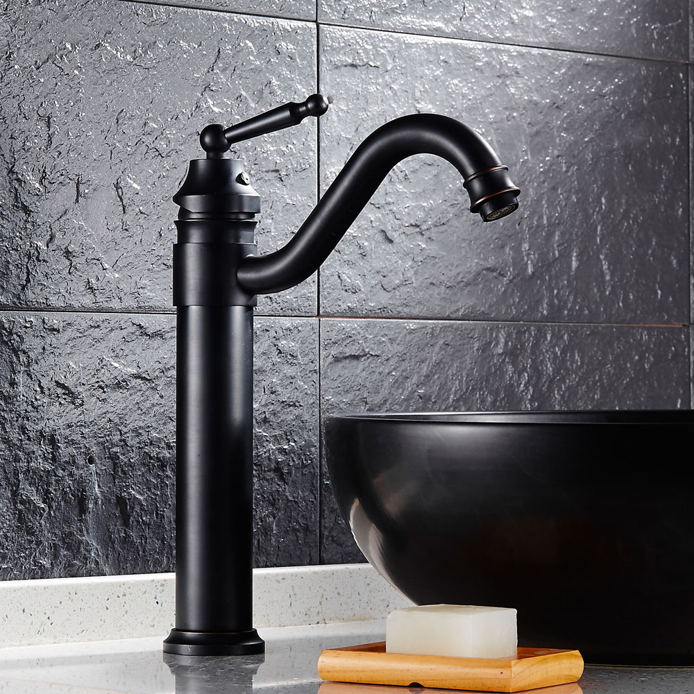 Antique Brass Retro Bathroom Basin Sink Mixer Taps Deck Mounted Single Holder Swivel Spout Black Faucet B3225 antique red copper dual cross handles kitchen sink faucet swivel spout bathroom basin vessel sink mixer taps deck mount wrg002