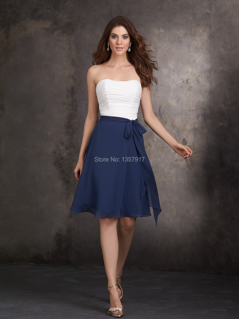 navy blue knee length dresses