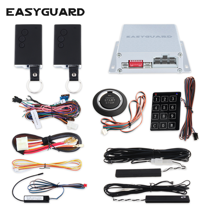 EASYGUARD PKE car alarm system remote engine start stop passive keyless entry auto start push button start touch password entry universal pke car keyless entry alarm system with remote engine start push start stop button trunk release