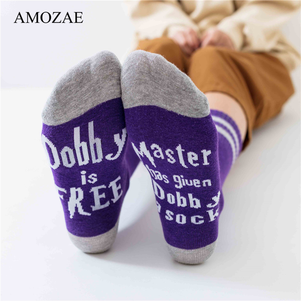 New 11 Colors Crew Socks For Women Purple Funny Letters Dobby Is Free Casual Socks Amozae Hip Hop Streetwear Skateboard Harajuku