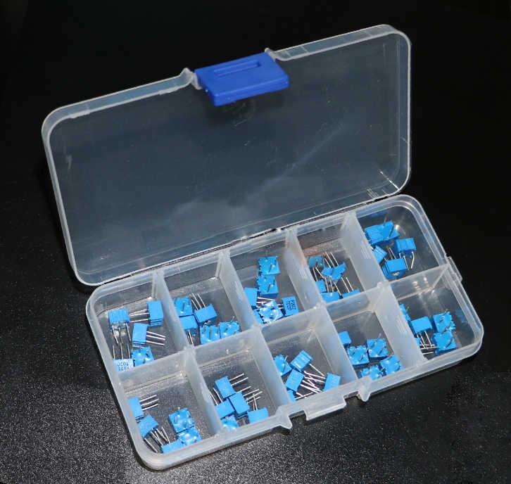 50 pièces/lot 100-1M 3362 potentiomètre assortiment kit ensemble 13 valeurs 3362W résistance variable potentiomètre électronique résistances pack