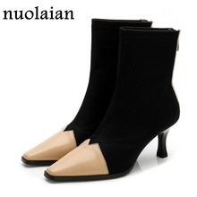 Vrouwen Sok Laarzen Wees Teen Elastische 8 cm Hoge Hakken Boot Slip Op Hoge Hak Enkellaars Vrouw Winter Stiletto botas Lady bottine(China)