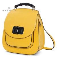 BAFELLI женский рюкзак лимонно желтый кожаный дорожный рюкзак mochilas mujer 2019 для подростков девочек рюкзаки женская сумка