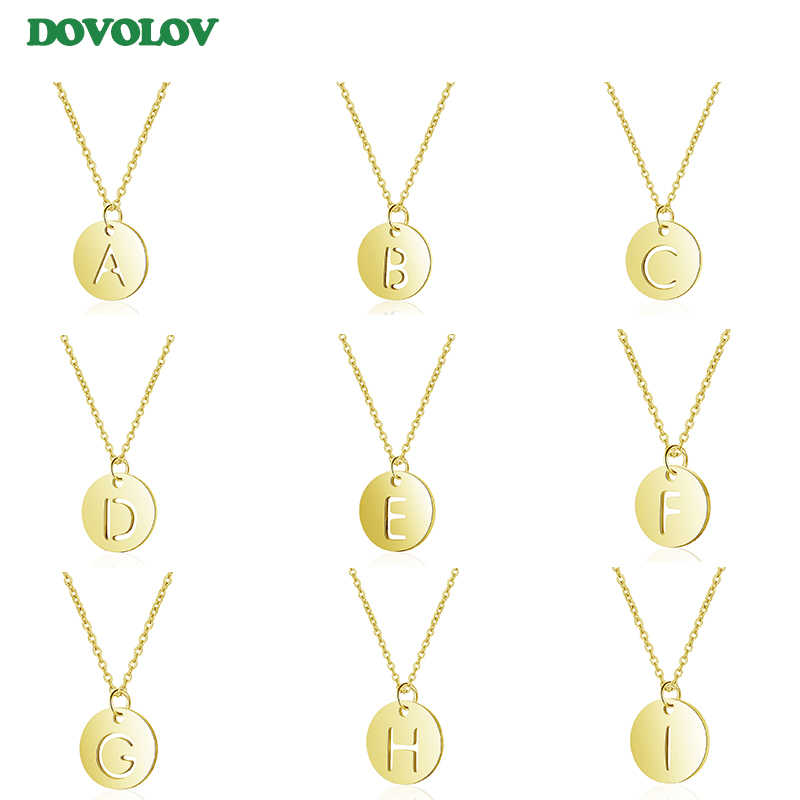 Dovolov Gold Color Stainless Steel Chain Letter Necklaces For Women Statement necklace For Girl Gift F303