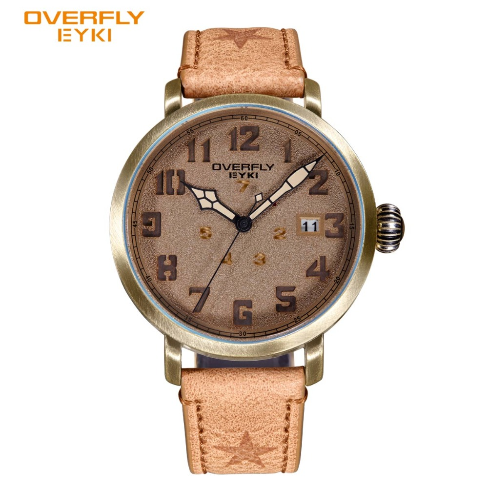 EYKI Fashion Antique Bronze Dial Genuine Leather Unique Date Design Luxury Watch Men Famous Brand New Men's Watches Dropshipping fashion capricorn design split leather bracelet antique bronze brown