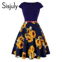Sisjuly Vintage Summer Dress Women Dark Blue Floral Print Retro Elegant Ball Gown Ladies New Luxury