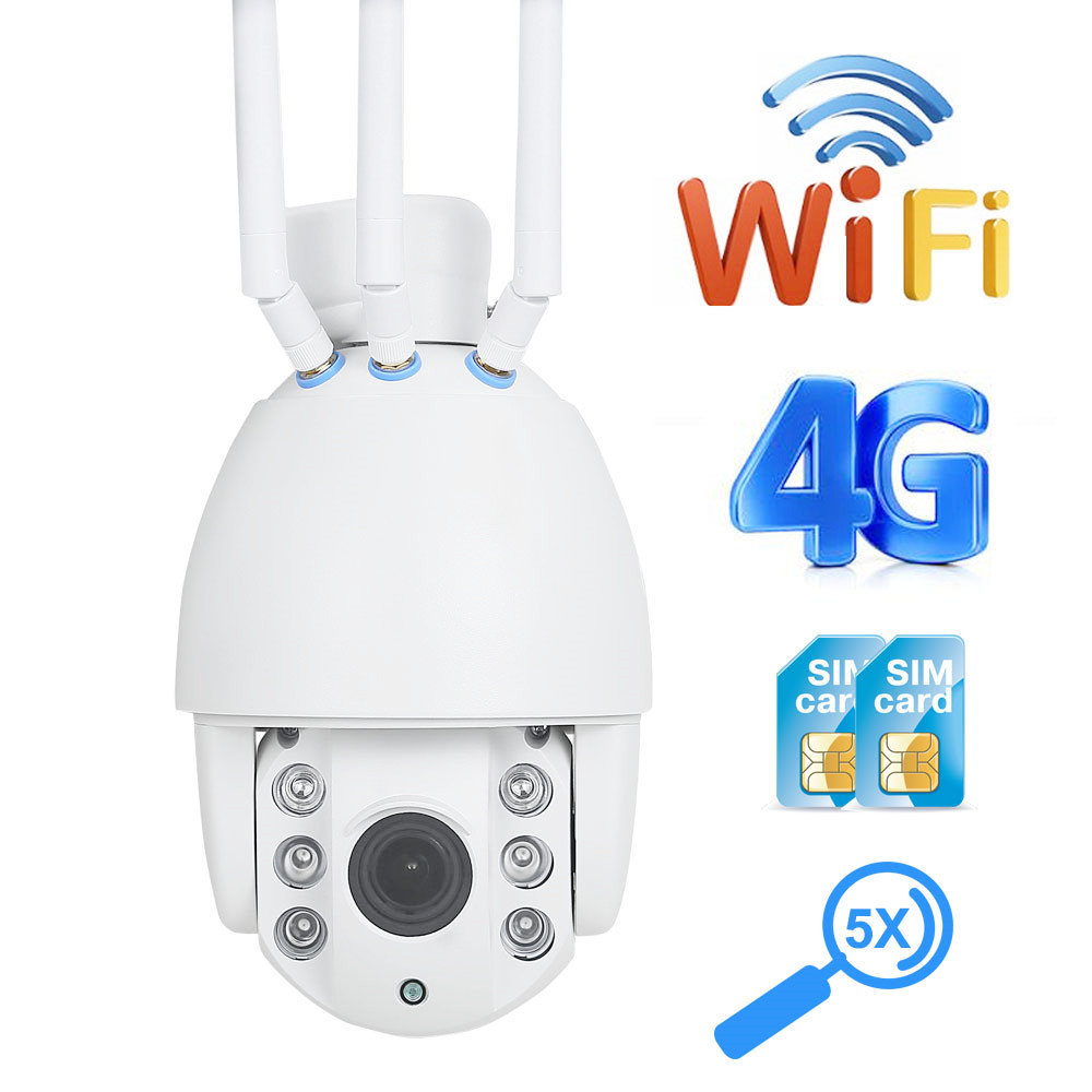 ZILNK Outdoor 3G 4G WiFi IP Camera SIM Card 1080P 5x Auto Zoom PTZ Dome Waterproof