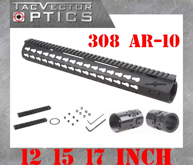 Tactical .308 Slim KeyMod 12 15 17 Inch High Profile Handguard Picatinny Rail Mount Bracket Steel Barrel Nut fit AR10 308