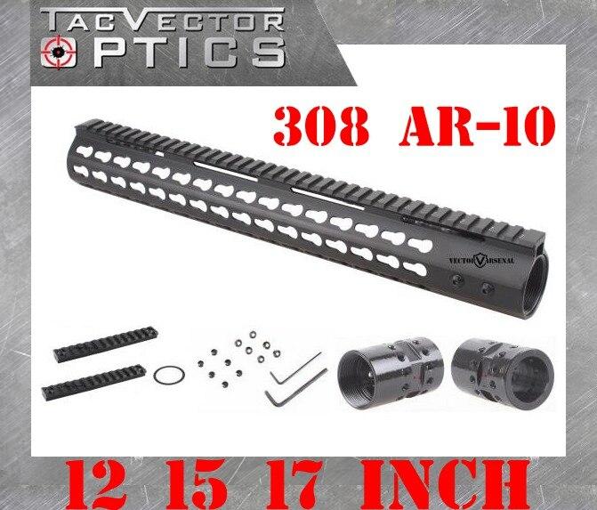 Tactique. 308 Mince KeyMod 12 15 17 pouce Haute Profil Handguard Picatinny Rail Mount Support Canon En Acier Écrou en forme AR10 308
