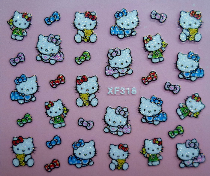 ④2 Sheet Factory direct XF KT Cat nail supplies nail stickers 3D ...