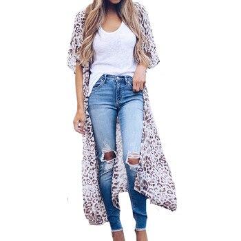 Women Blouses Chiffon Shirt Fashion Chiffon Print Long Coat Tops Suit Bikini Swimwear Leopard Beach Swimsuit Smock Long Blouses фото