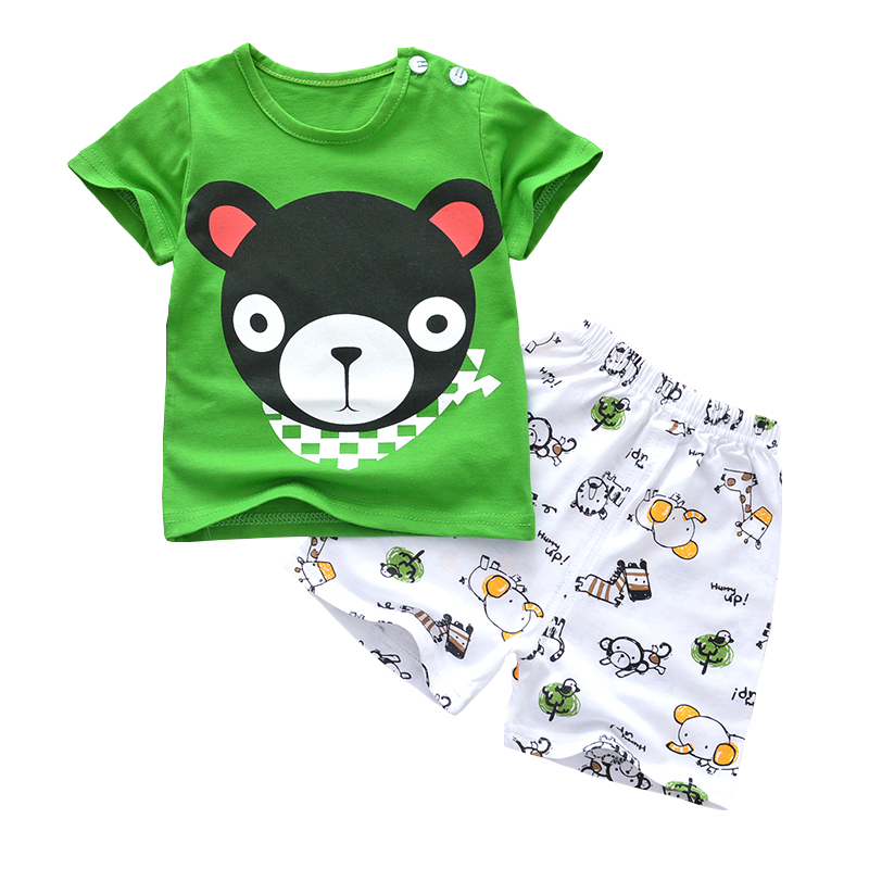 2018 summer Baby Clothing Set Fashion Bear cartoon Newborn Boy Girl Clothes Suit TShirt for Infant 3month-3year 3pcs set newborn infant baby boy girl clothes 2017 summer short sleeve leopard floral romper bodysuit headband shoes outfits