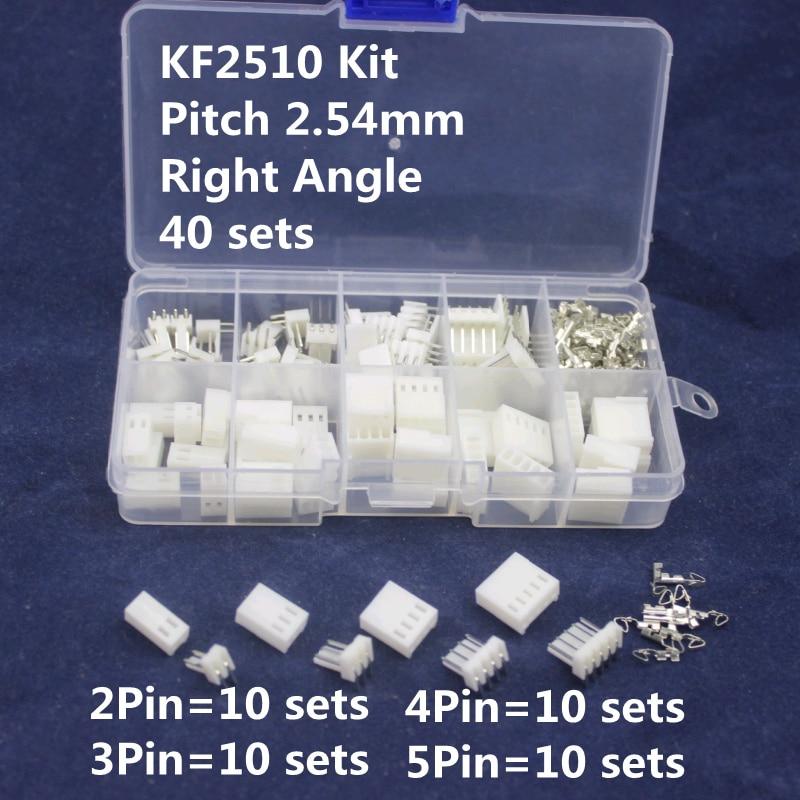 KF2510 Kits 40 sets Right Angle Kit in box 2p 3p 4p 5 pin 2.54mm Pitch Terminal / Housing / Pin Header Connectors Adaptor