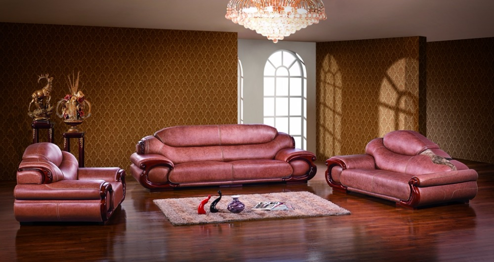 antique European leather sofa set living room furniture made in China sectional sofa 1+4+chaise