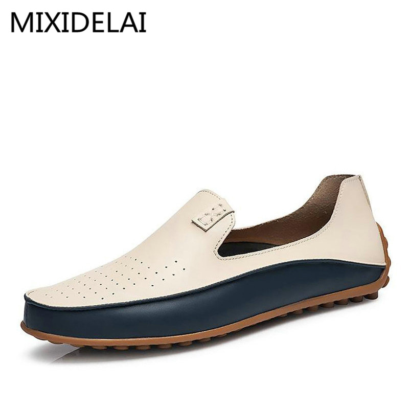 Brand Summer Causal Shoes Men Loafers Genuine Leather Moccasins Men Driving Shoes High Quality Flats For Man size 36-47 relikey brand summer slip on driving shoes for men full grain leather high quality breathable moccasins soft solid men shoes