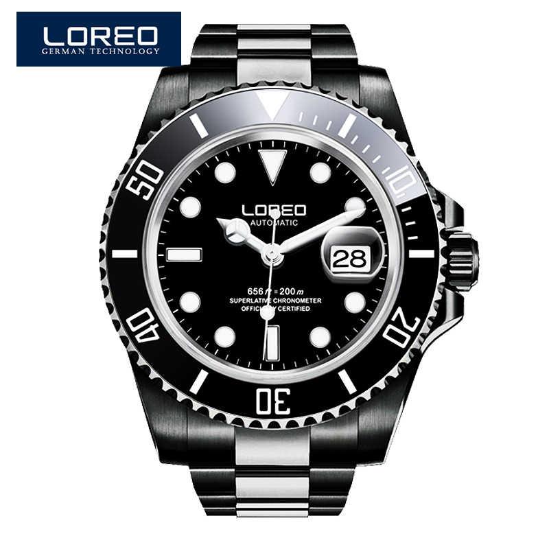 LOREO 男性機械式高級ファッションブランド黒鋼の男スポーツ腕時計ダイビングメンズ腕時計自動レロジオ Masculino
