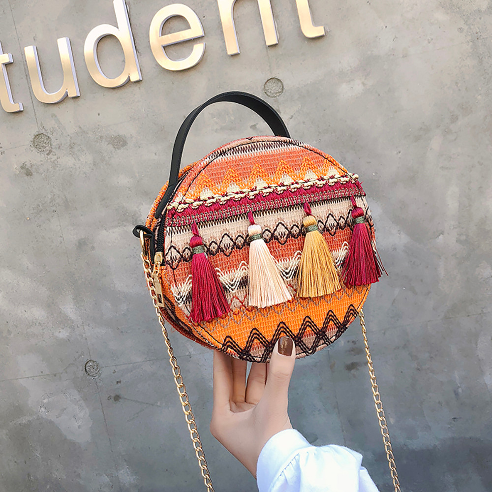 Women Tassel Chain Small Bags national wind round bag packet Lady Fashion Round Shoulder Bag Bolsos Mujer#A02 93