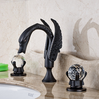 Oil Rubbed Bronze Finished Deck Mounted Widespread 3pcs Height Spout Bathroom Sink Mixer Tap