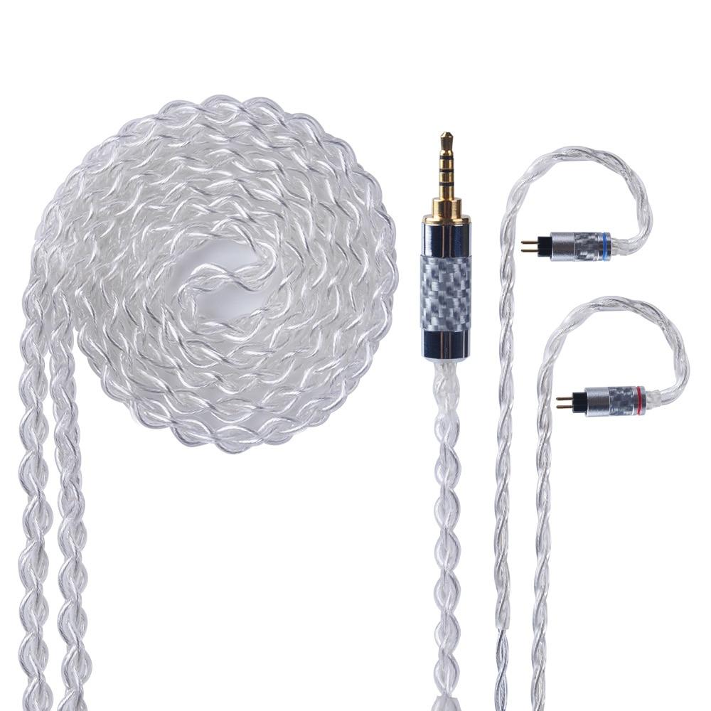 Yinyoo 4 Core Pur Argent Câble 2.5/3.5/4.4mm Équilibrée Écouteurs Mets Câble Avec MMCX/2Pin pour KZ ZST AS10 HQ10 HQ8 RX8 QT2