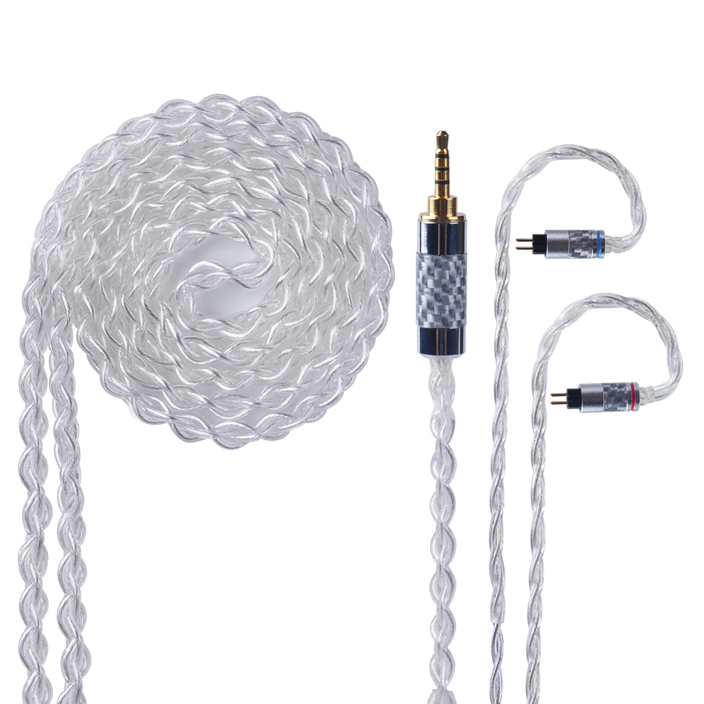 Yinyoo 4 Core Pure Silver Cable 2.5/3.5/4.4mm Balanced Earphone Upgrade Cable With MMCX/2Pin for ZS10 PRO AS10 AS12 A10/C12/C16-in Earphones from Consumer Electronics