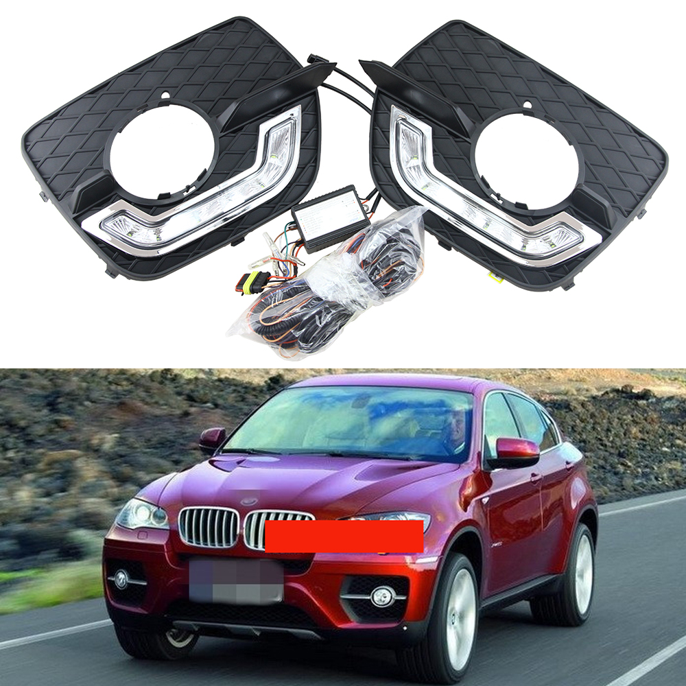 1:1 Replacement 12V LED Car DRL Kit For BMW X6 E71 2008 2009 2010 2011 2012 2013 LED Daytime Running Light Fog Lamp White for skoda superb 2008 2009 2010 2011 2012 2013 new led drl daytime running light fog light with wire of harness and gift