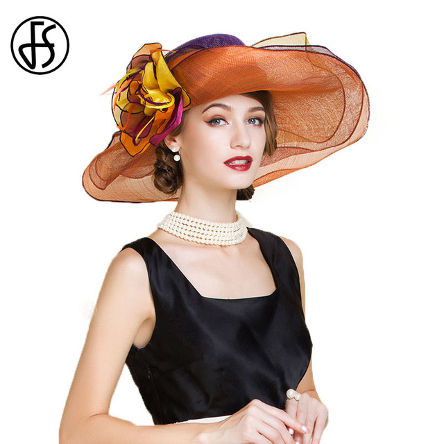 80c47442 FS Sinamay Fascinator Hats For Womens Large Wide Brim Fedora With Flowers  Gold Color Church Wedding Kentucky Derby Hat Ladies