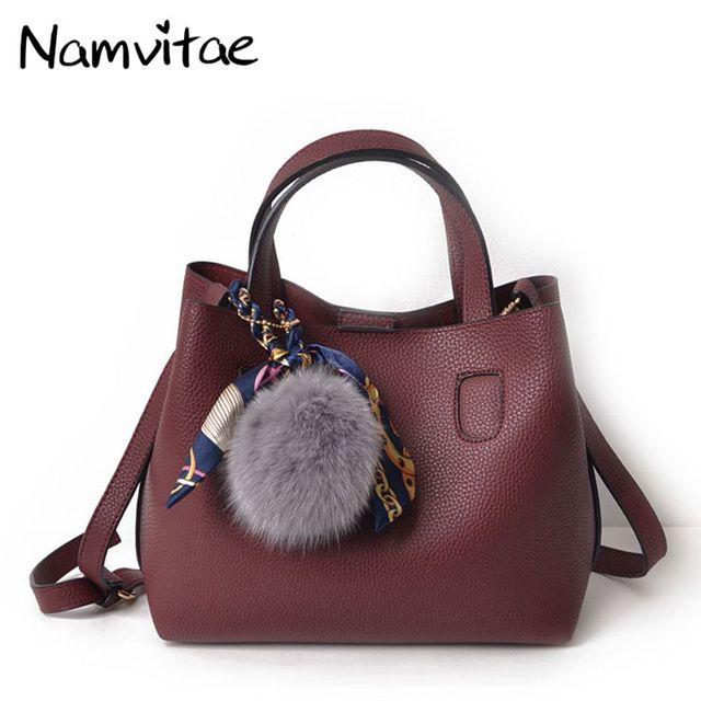 Namvitae Women Tote Bag Soft Pu Leather Handbag 2pcs Female Shoulder S Messenger Casual Bagus 14 42
