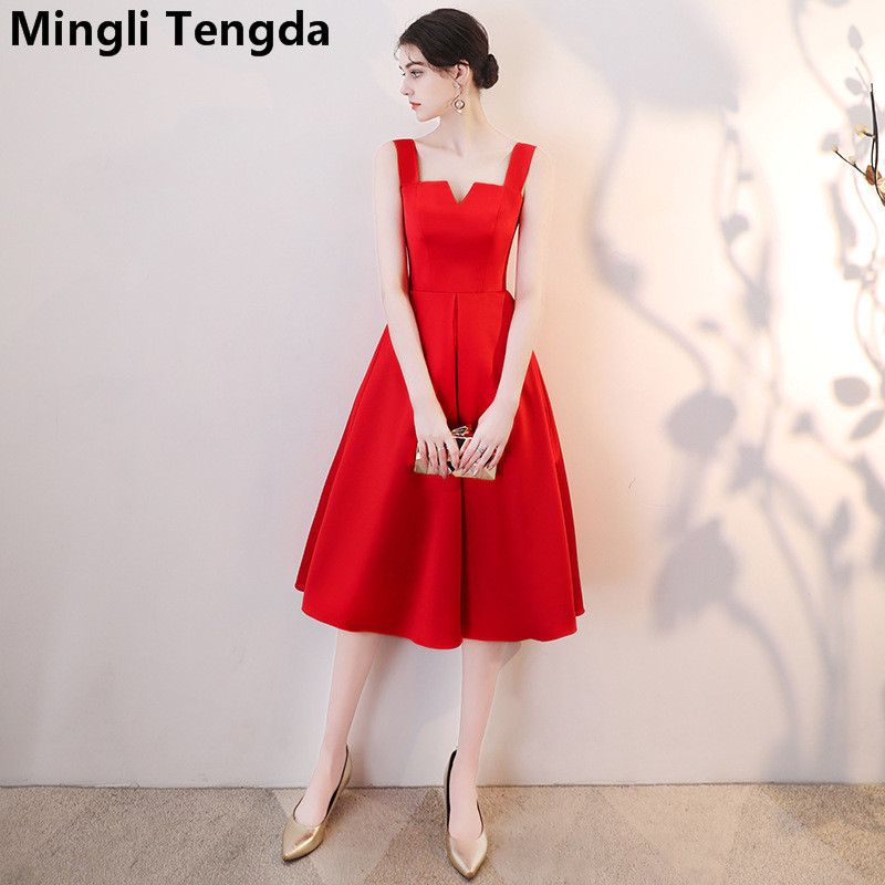 Mingli Tengda Red V Neck   Bridesmaid     Dress   Spaghetti Straps   Bridesmaid   Dresse Elegant Satin   Dress   2018 robe demoiselle d'honneur