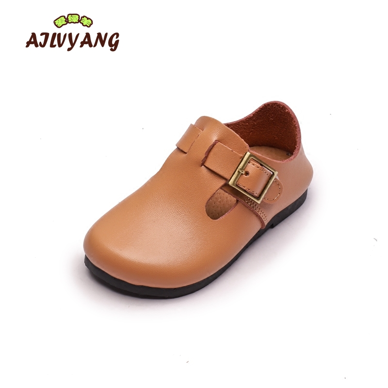 Children Genuie Leather Shoes Baby Boys Soft Peas Shoes Girls Fashion Comfortable Flats Hooks Shoes Kids Footwear