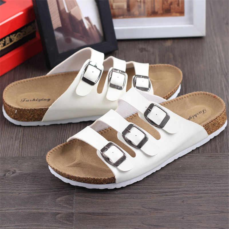 ฤดูร้อนใหม่ unisex หัวเข็มขัด cork รองเท้าแตะรองเท้าแตะรองเท้า 2019 ผู้ชายผสมสีรองเท้าแตะชายหาด flip flops plus ขนาด 35-44