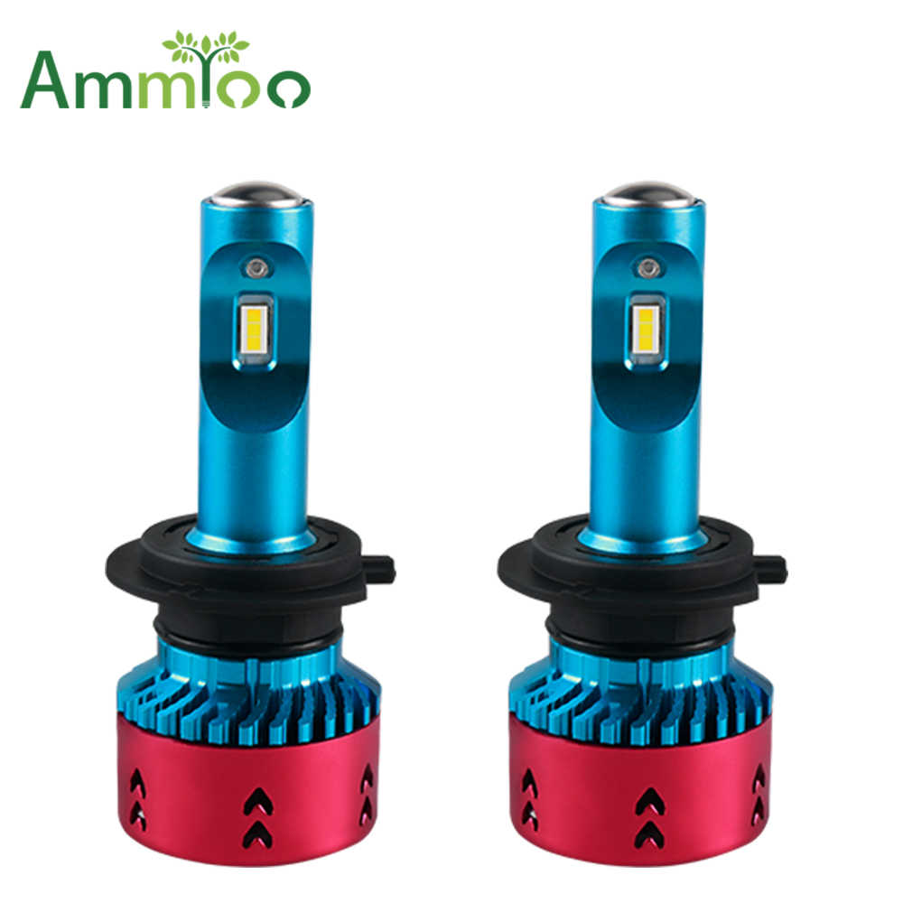 AmmToo H4 H7 LED Car Headlight 12V 9005 9006 Fog Light Led far 70W 16000lm Auto Bulb Headlamp 6500K Light High Low Beam car Bulb