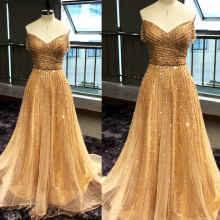 gold prom dresses 2019 sweetheart neckline beading sequins a line tulle crystal evening gowns arabic