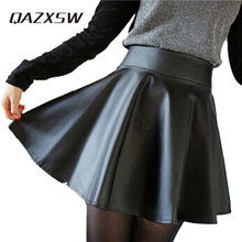 QAZXSW Casual Pleated Skirt Women Mini Style Faux Leather Skirts Kilt Winter Vintage Tartan Umbrella Solid Skirts YC158