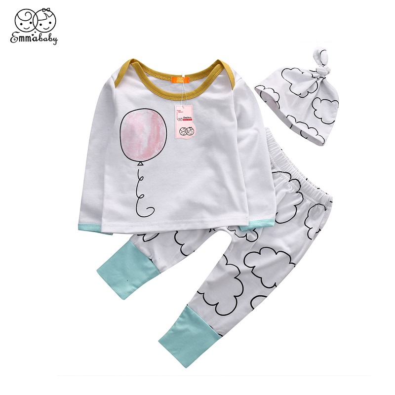 Emmababy Infant Kids Pajamas Clothes Baby Girl Boy 3D balloon Print Cotton Long Sleeve T-shirt Tops+Long Pants+Hat Outfits 3Pcs
