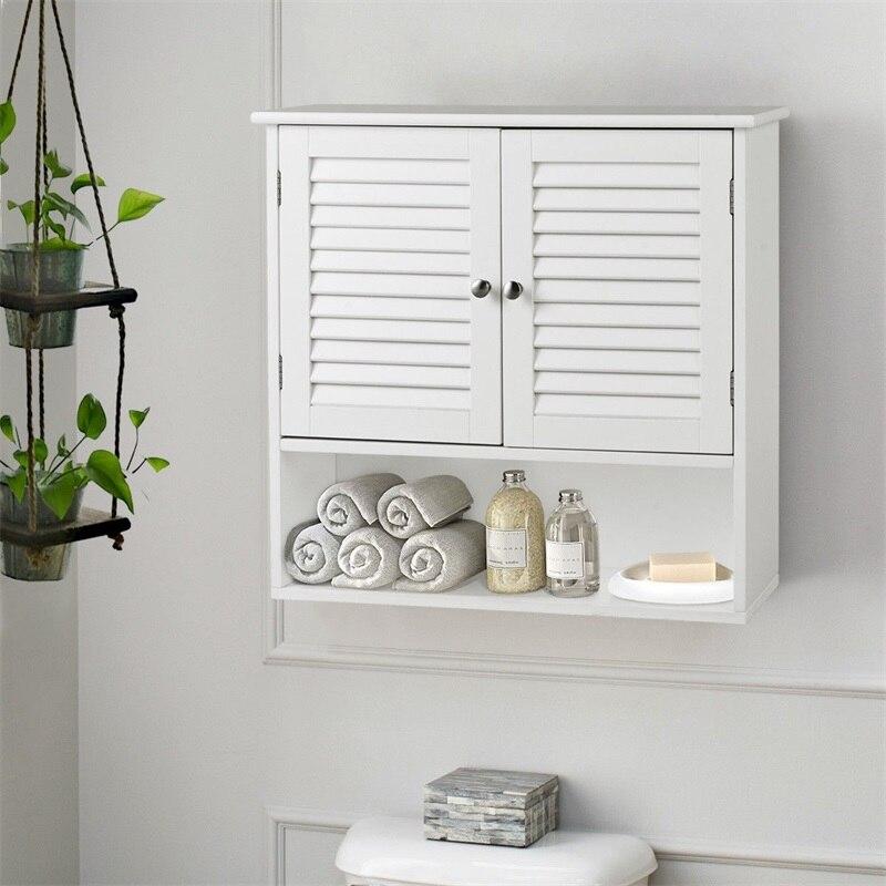 Double Doors Shelves Bathroom Wall Storage Cabinet Modern Waterproof Mold Proof White Bathroom Furniture Storage Cabinet HW56555