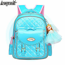 AEQUEEN Cute Bow Kids Backpacks Blue Pink Satchel Children School Bags For Girls Orthopedic Waterproof Backpack Bookbag Mochila(China)