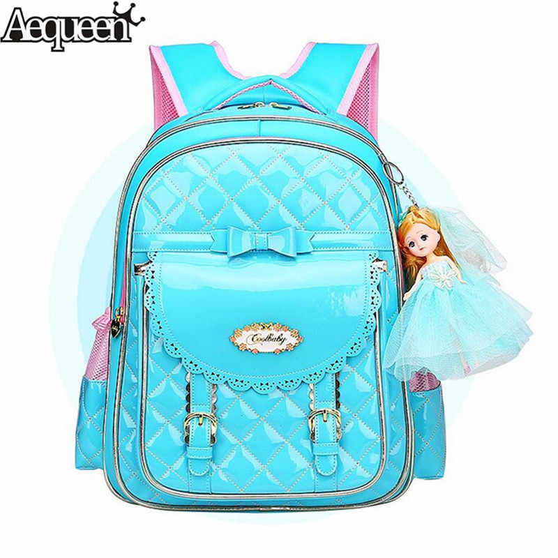 AEQUEEN lindo arco niños mochilas azul Rosa Satchel niños mochilas de escuela para niñas Mochila ortopédica impermeable Mochila