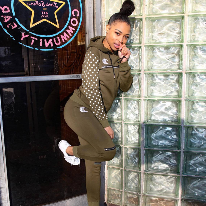 Long Sleeve TWO PIECE SET Hoodie Women Tracksuit Polka Dot Knee Zipper Pants Sweat Suit 2 Piece Outfit Jogger Clothes Sweatpants