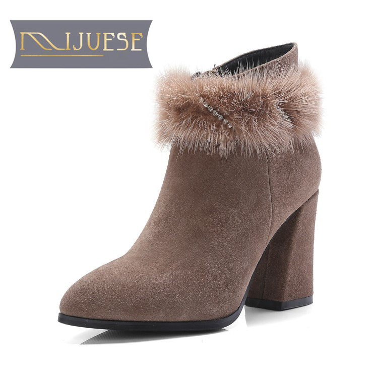 MLJUESE 2018 women ankle boots Cow Suede Khaki color crystal high heels winter warm short plush women boots Chelsea boots nemaone 2018 winter cow suede chelsea ankle boots shoes for woman high heels square heel short plush fashion women boots