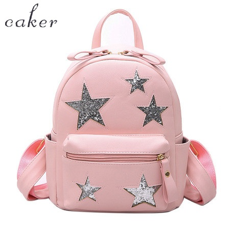 Caker Brand Women Pink Sequined Backpack Fashion Top Star Black Shoulder Bags For Teenagers Shopping School