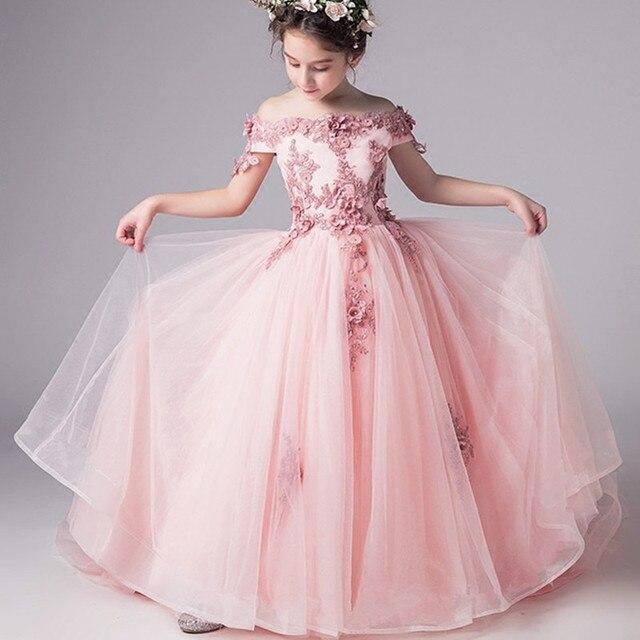 Новый Одежда высшего качества Детские платья, Свадебные платья для девочек кружева подростков вышивать вечерние платье для рождества для девочек костюмы