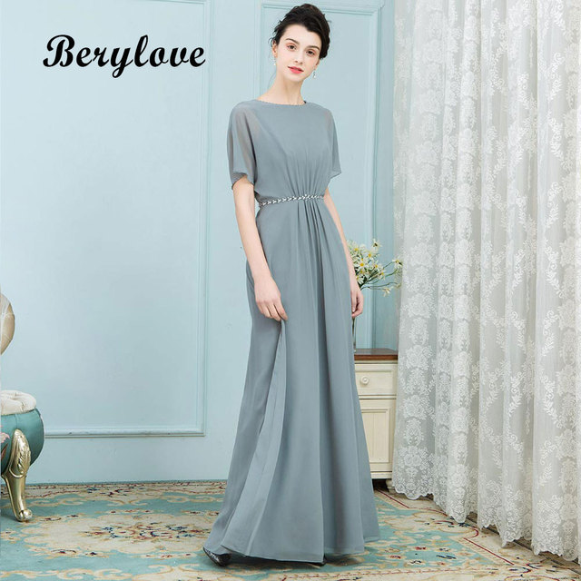 BeryLove Unique Mother of the Bride Dresses With Sleeves Long Chiffon 2018 Women Wedding Party Dresses For Mother Evening Dress