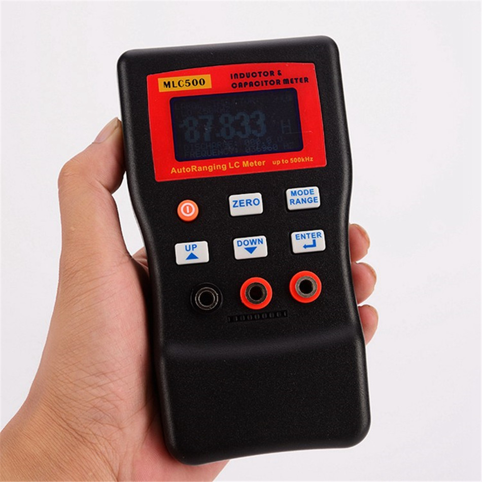Professional LCD Digital LC Meter 500kHz LC/RC Capacitance Inductance Meter 100H 100mF 1% Digital Bridge With SMD Clip high precision digital capacitance inductance meter auto ranging component tester 500kh lc rc oscillation inductance multimeter