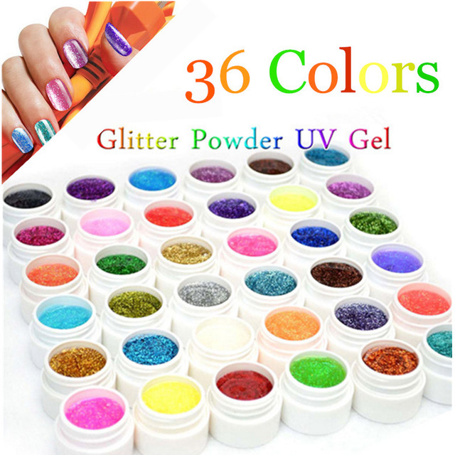 36 Glitter Colors UV Gel Nail Tips Pure Fine Shiny Cover French Manicure Set High Quality Gel Varnishes Lady Gift free shipping