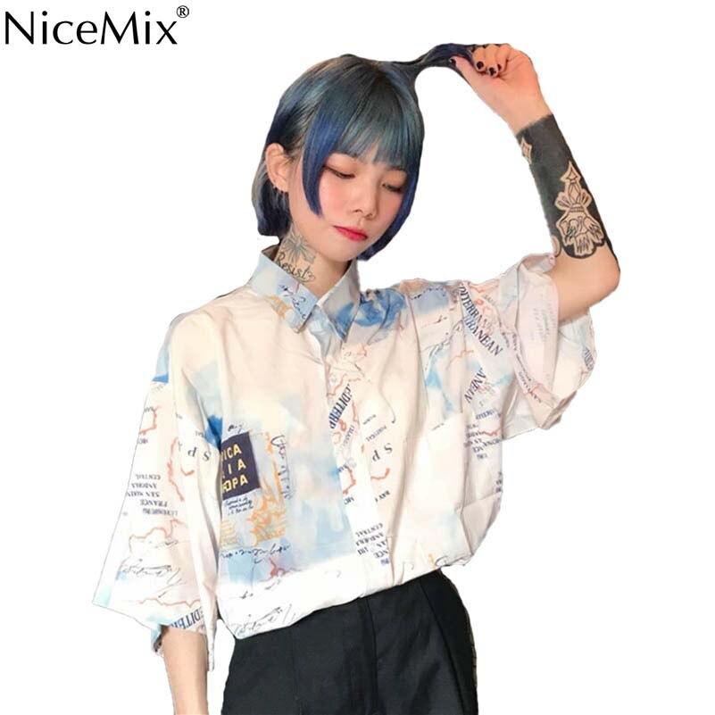 NiceMix Summer Harajuku Blouse Short Sleeve Womens Shirt Digtal Print Map Tops And Blouses Casual Blusas Camisas Mujer 2019