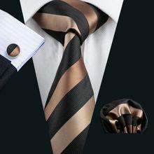 Men`s Tie Silk Striped Jacquard Woven Classic Tie & Hanky Cufflinks Set